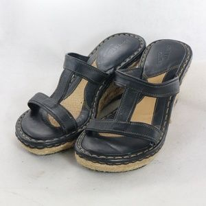 BORN SHOES Leather Open Espadrille Wedge Sandals